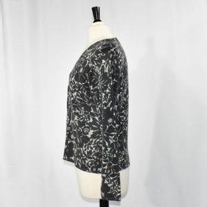 Sarah Spencer Sweaters - Lambs Wool & Angora Black Floral Cardigan MEDIUM